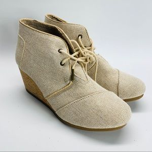 Toms Desert Wedge Booties Natural Metallic Linen